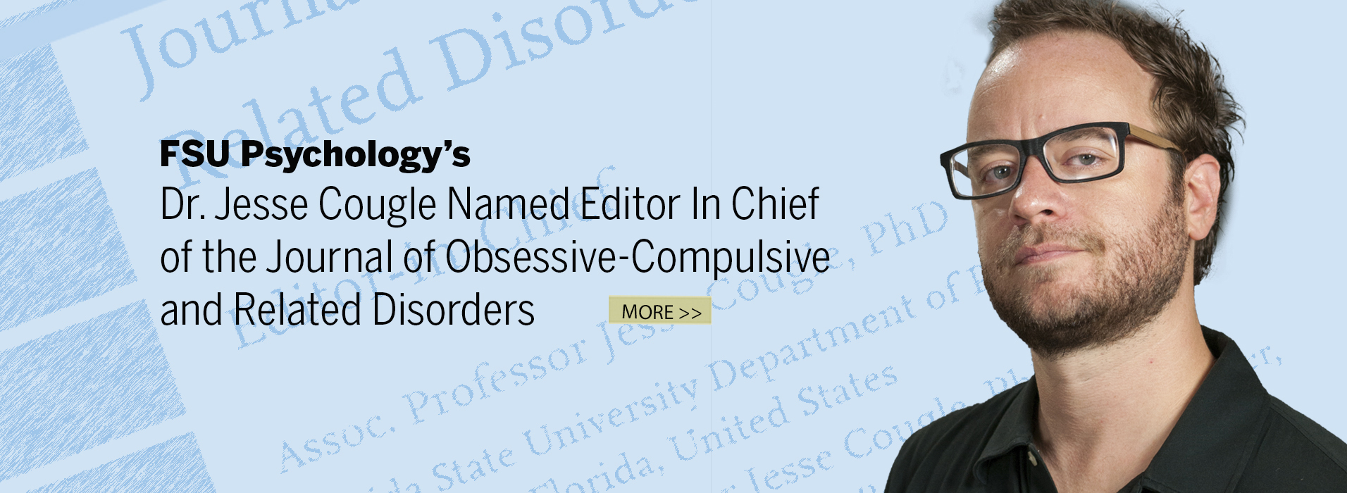 Dr. Jesse Cougle Named Editor In Chief Of Journal Of Obsessive-Compulsive and Related Disorders